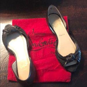 Christian Louboutin peep toe flats size 37 1/2